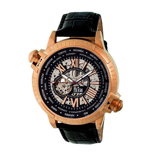 Reign Unisex Adult Automatic Black Leather Strap Watch-Reirn2107