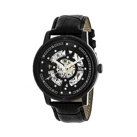 Reign Unisex Adult Automatic Black Leather Strap Watch-Reirn3606