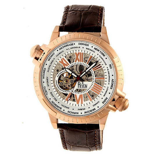 Reign Unisex Adult Automatic Brown Leather Strap Watch-Reirn2104