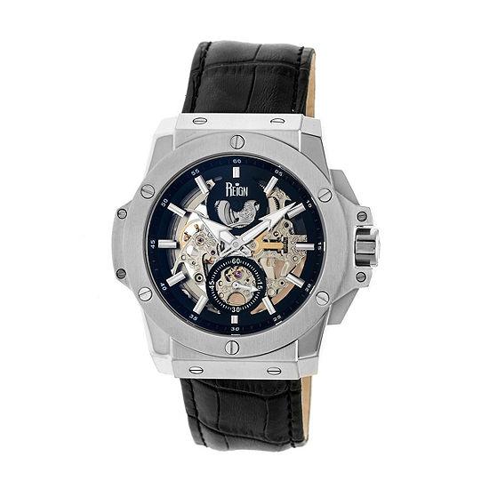 Reign Unisex Adult Automatic Black Leather Strap Watch-Reirn4002