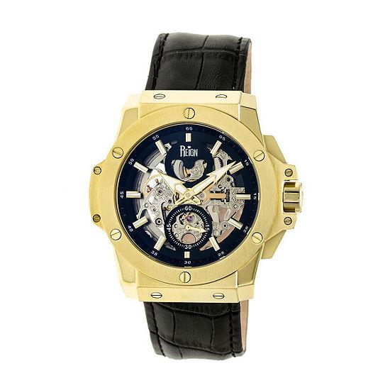 Reign Unisex Adult Automatic Black Leather Strap Watch Reirn4004