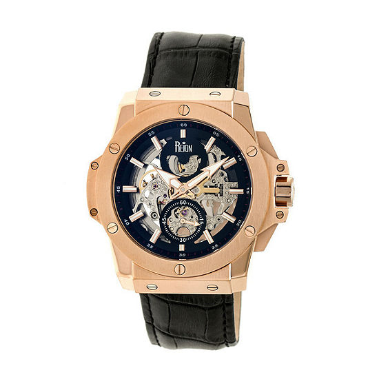 Reign Unisex Adult Automatic Black Leather Strap Watch-Reirn4005
