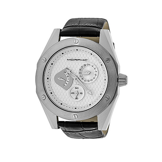 Morphic Unisex Black Leather Bracelet Watch-Mph4601