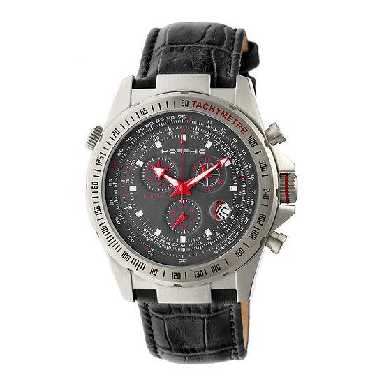 Morphic Mens Black Leather Bracelet Watch-Mph3604