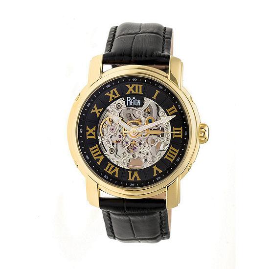Reign Unisex Adult Automatic Black Leather Strap Watch-Reirn4305