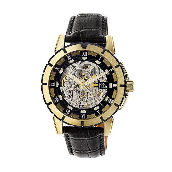 Reign Unisex Adult Automatic Black Leather Strap Watch-Reirn4605