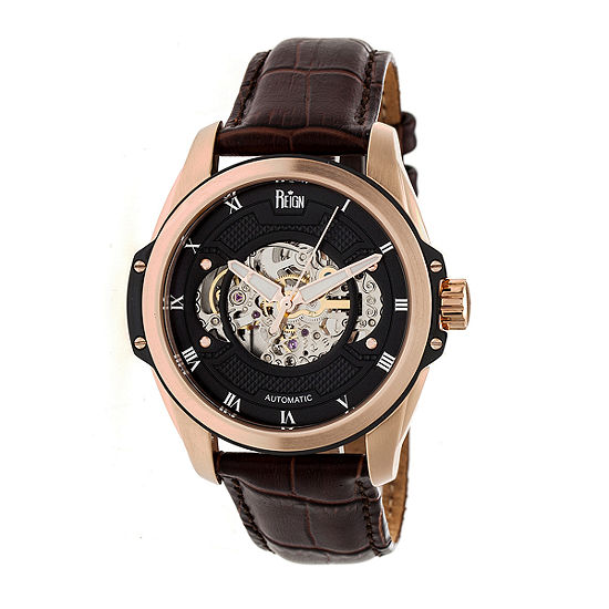 Reign Unisex Adult Automatic Brown Leather Strap Watch-Reirn4506