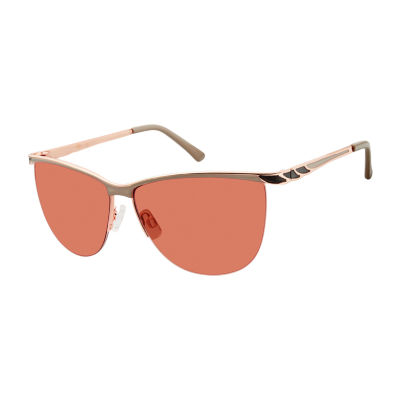 Libby Edelman Half Frame Round UV Protection Sunglasses-Womens