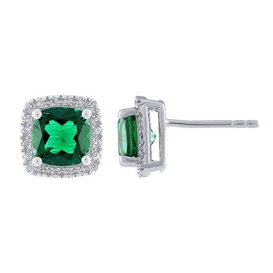 Cushion Lab-Created Emerald White Sapphire Sterling Silver Stud Earrings