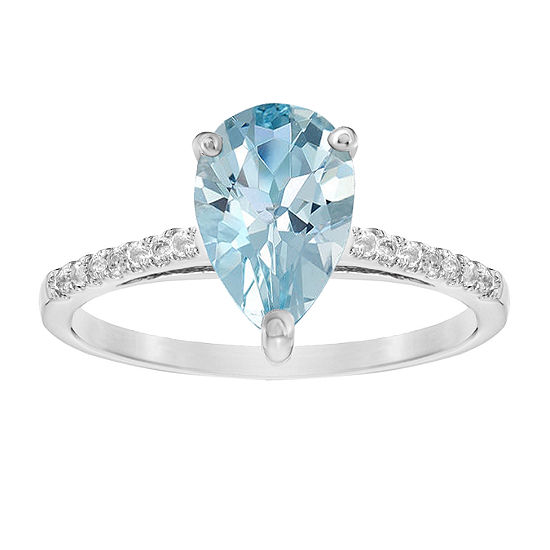 Womens 1/10 CT. T.W. Lab Created Blue Aquamarine 14K White Gold Cocktail Ring
