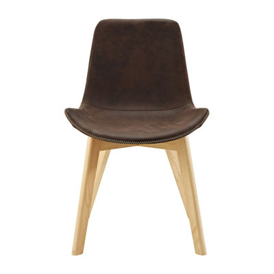 Suede Side Chairs with Edge Stitching