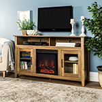 "58"" Wood Highboy Fireplace TV Stand"