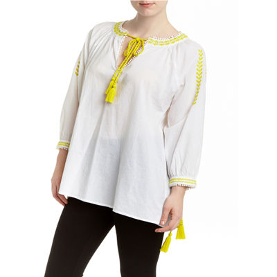 Romeo and Juliet Couture Neon Peasant Blouse