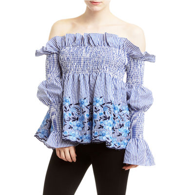 Romeo and Juliet Couture Striped and Embroidered Top
