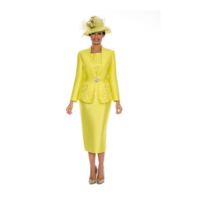 Giovanna Collection Women's Cut-Out Detail Embellished 3-Piece Skirt Suit