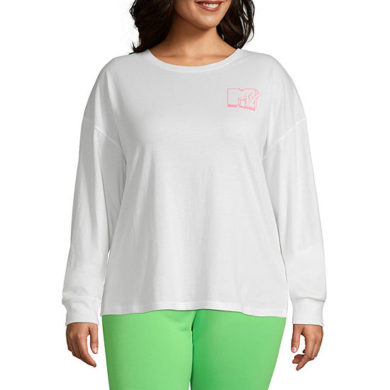 Womens Crew Neck Long Sleeve Graphic T-Shirt-Juniors Plus
