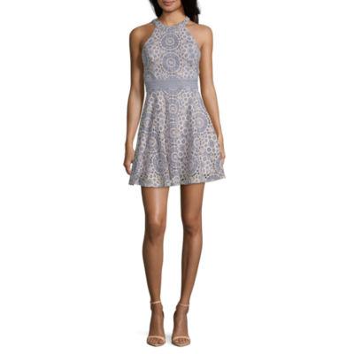 City Triangle Sleeveless Tonal Fit & Flare Dress-Juniors