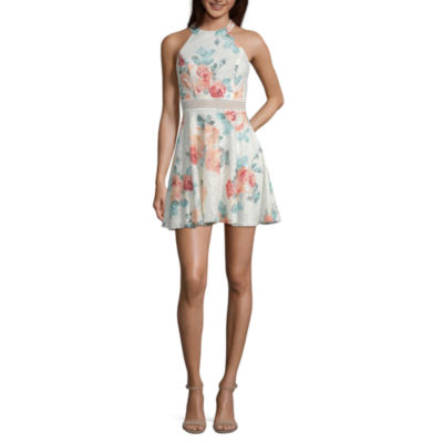 City Triangle Sleeveless Floral Fit & Flare Dress-Juniors