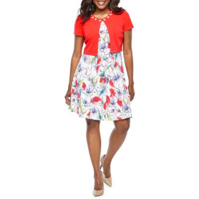 Perceptions Short Sleeve Floral Jacket Dress-Petite