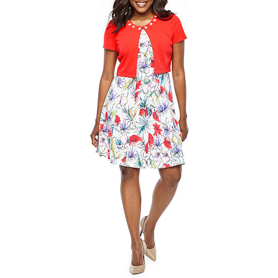 Perceptions Short Sleeve Floral Jacket Dress-Petite