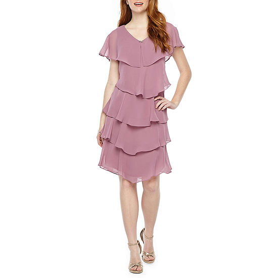 S. L. Fashions Short Sleeve Tiered Embellished Shift Dress