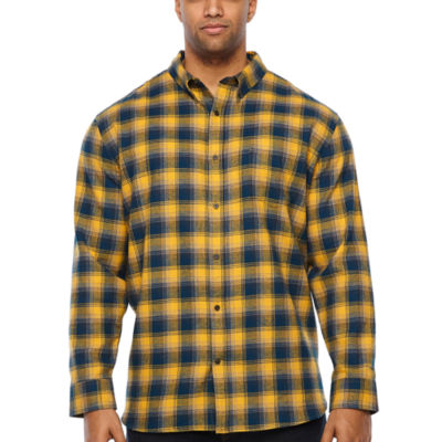 The Foundry Big & Tall Supply Co. Mens Long Sleeve Plaid Button-Down Shirt