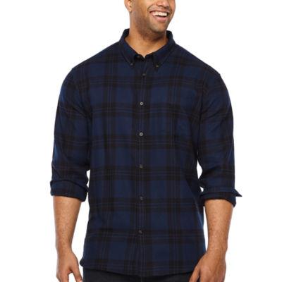 The Foundry Big & Tall Supply Co. Mens Long Sleeve Plaid Button-Down Shirt