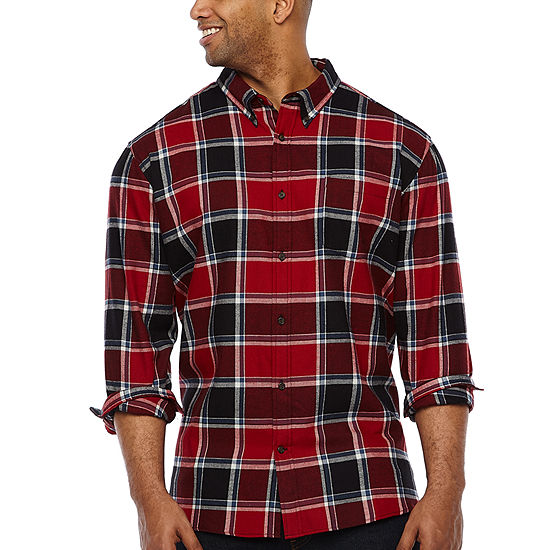 The Foundry Big & Tall Supply Co. Big and Tall Mens Long Sleeve Plaid Button-Front Shirt