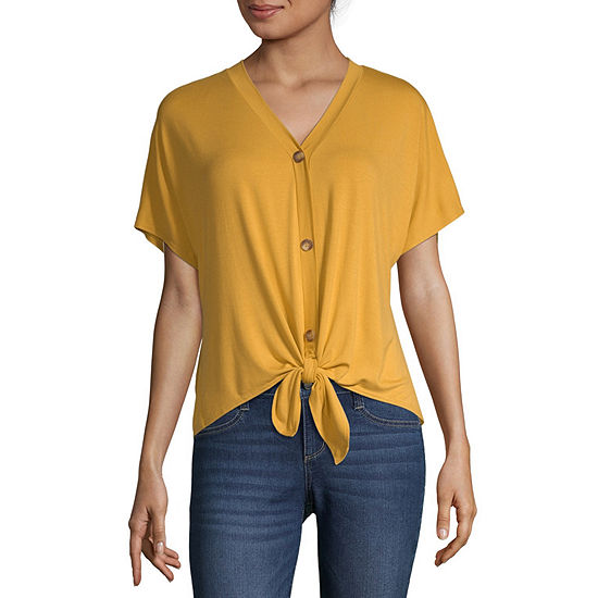Cut And Paste Womens Short Sleeve Oversized Button-Front Shirt-Juniors