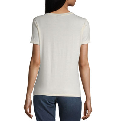 Worthington Womens Round Neck Short Sleeve T-Shirt