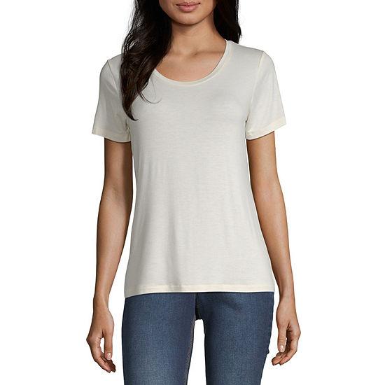 Worthington Womens Round Neck Short Sleeve T-Shirt