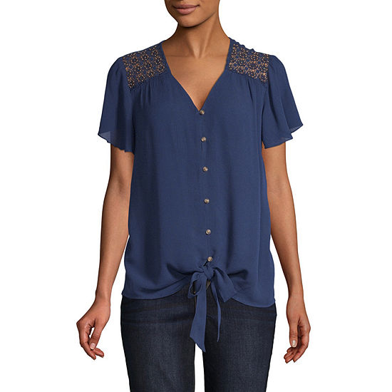 St. John's Bay Womens V Neck Short Sleeve Embellished Blouse