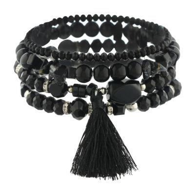 Mixit Womens 4-pc. Black Bracelet Set