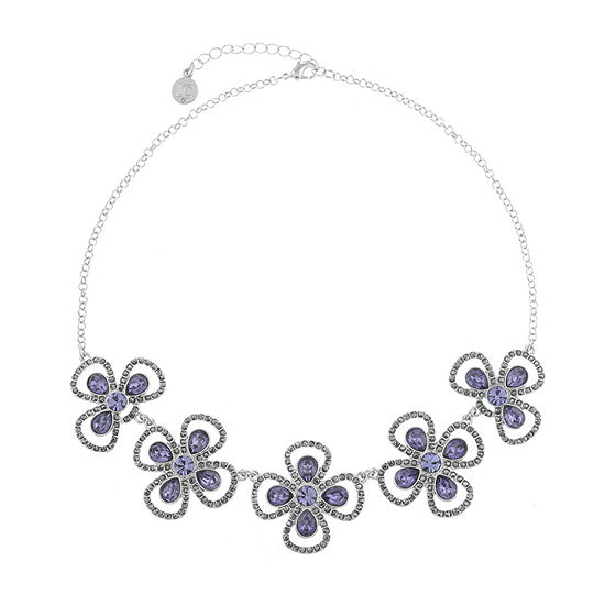 Liz Claiborne The Ivy 17 Inch Cable Flower Collar Necklace