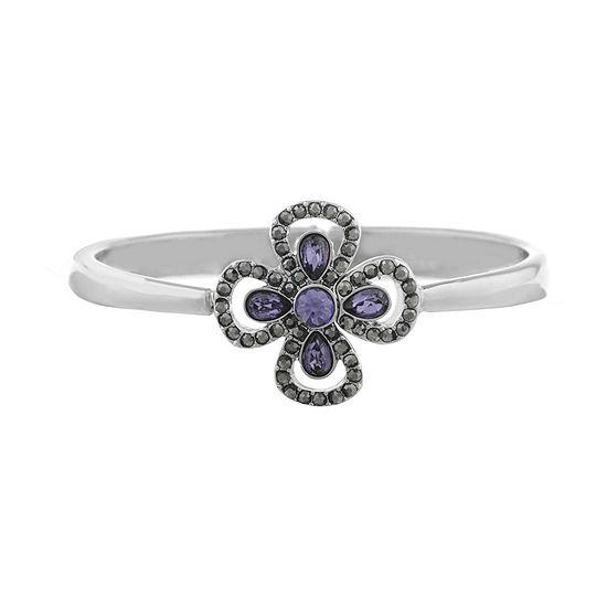 Liz Claiborne The Ivy Silver Tone Flower Bangle Bracelet