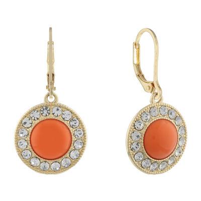 Monet Jewelry 90th Anniversary Orange Round Drop Earrings