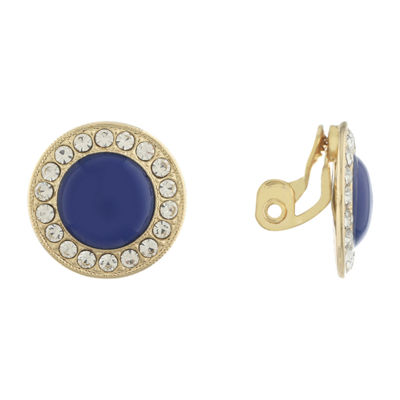 Monet Jewelry 90th Anniversary Blue Round Clip On Earrings