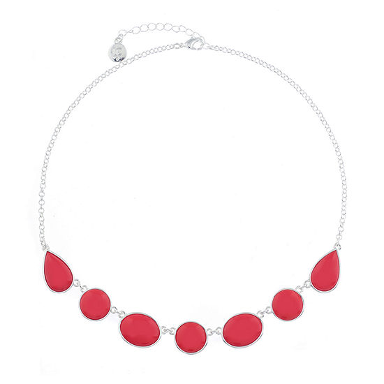 Liz Claiborne Shes A Rainbow Womens Red Round Collar Necklace