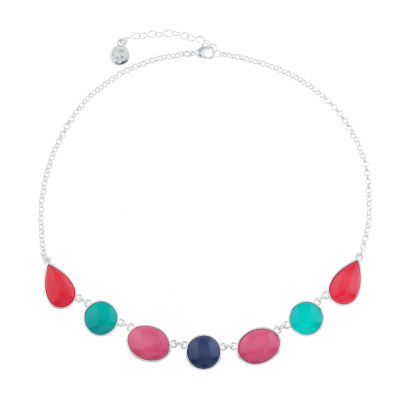 Liz Claiborne Shes A Rainbow Womens Multi Color Round Collar Necklace