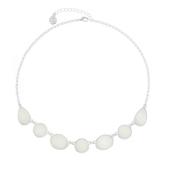 Liz Claiborne Shes A Rainbow White 17 Inch Cable Round Collar Necklace