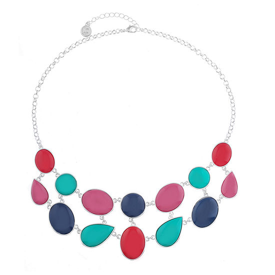 Liz Claiborne Shes A Rainbow Womens Multi Color Oval Collar Necklace