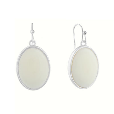 Liz Claiborne Shes A Rainbow White Oval Drop Earrings