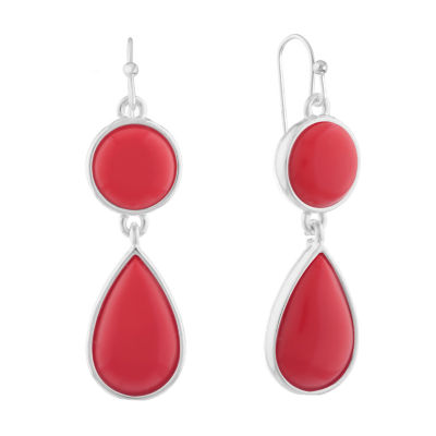 Liz Claiborne Shes A Rainbow Red Round Drop Earrings