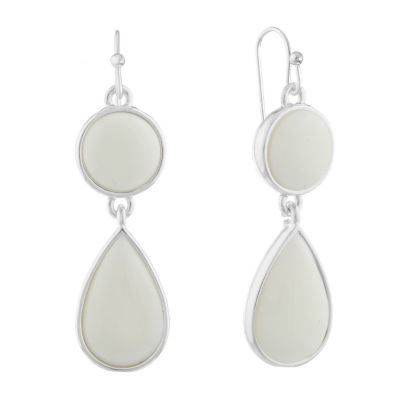 Liz Claiborne Shes A Rainbow White Round Drop Earrings