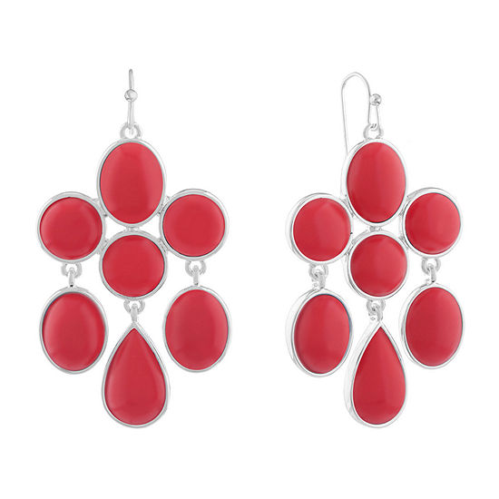 Liz Claiborne Shes A Rainbow Red Round Chandelier Earrings
