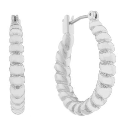 Monet Jewelry Classic With A Metal Twist 25mm Hoop Earrings
