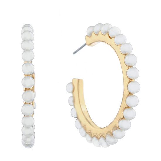 Monet Jewelry Spring Pearl 1 Pair Hoop Earrings