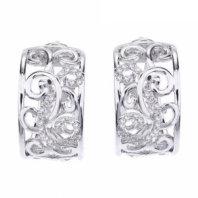 1/4 CT. T.W. Genuine White Diamond 15mm Hoop Earrings