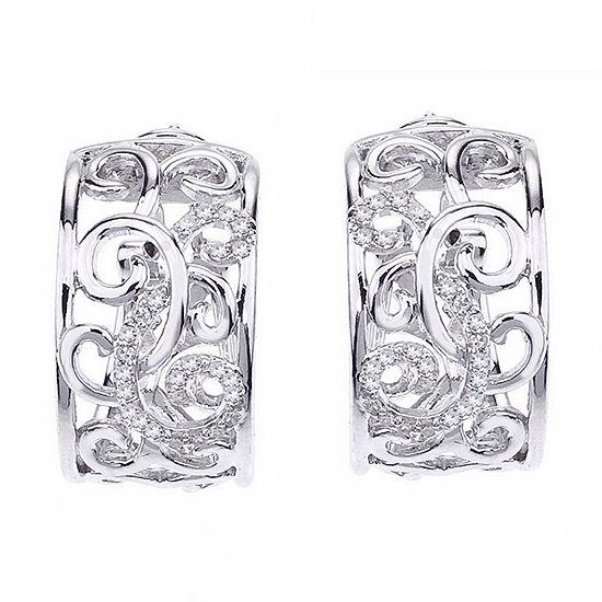 1/4 CT. T.W. Genuine White Diamond Sterling Silver 15mm Hoop Earrings