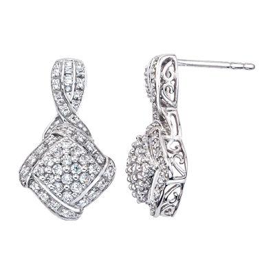 1/2 CT. T.W. Genuine White Diamond Drop Earrings